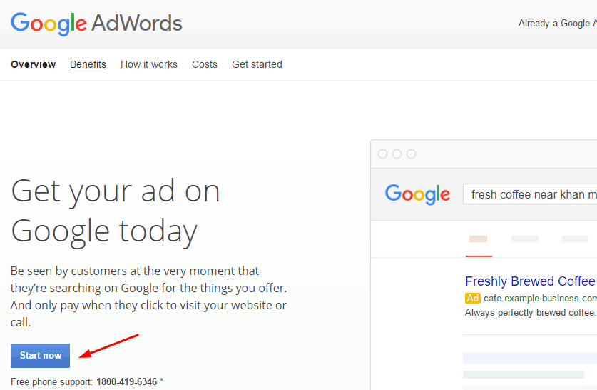adword account start option